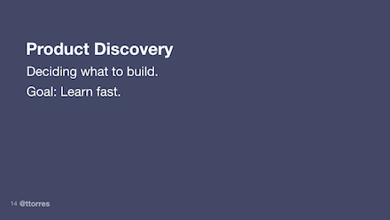 The goal of product discovery is to learn fast.