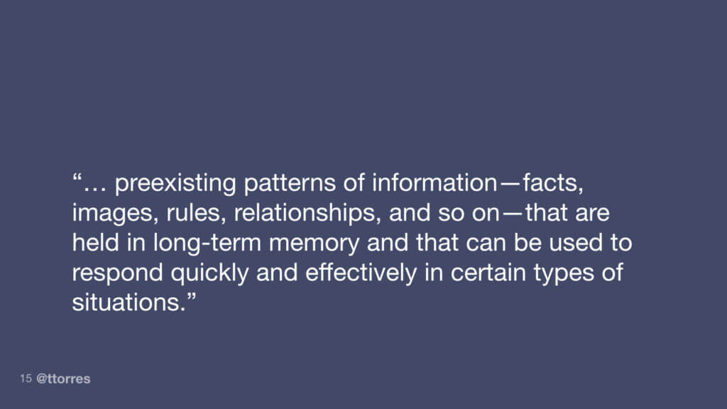 """...preexisting patterns of information - facts, images, rules, relationships, and so on - that are held in long-term memory and that can be used to respond quickly and effectively in certain types of situations."""