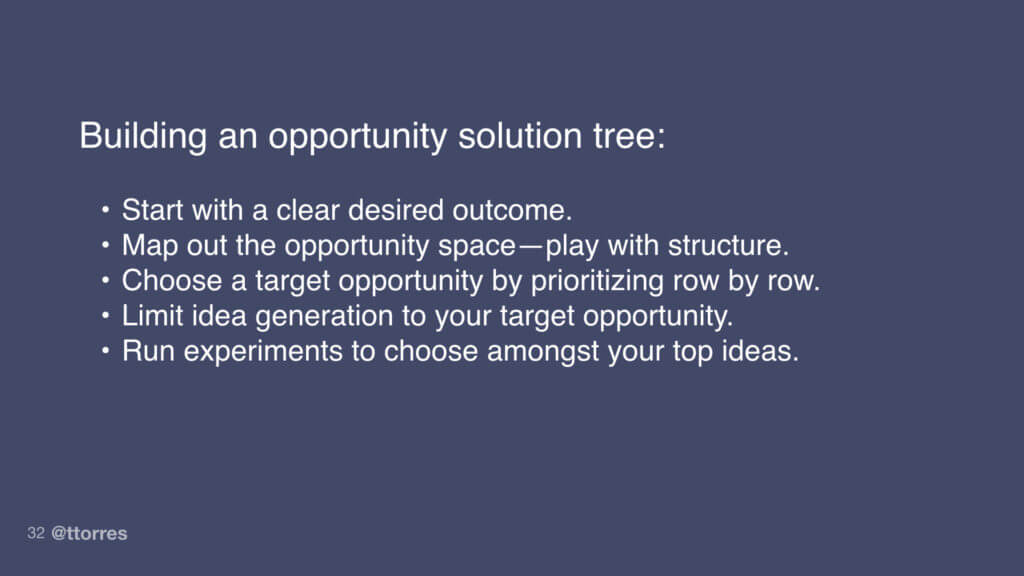 Building an opportunity solution tree: Start with a clear desired outcome, map out the opportunity space - play with structure, choose a target opportunity by prioritizing row by row, limit idea generation to your target opportunity, and run experiments to choose amongst your top ideas.