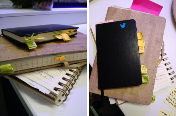 Photos of notebooks and stickies