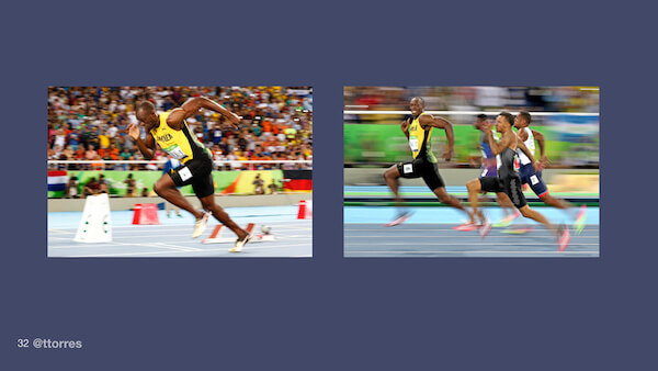 One photograph of Usain Bolt running by himself and one of him running with other people