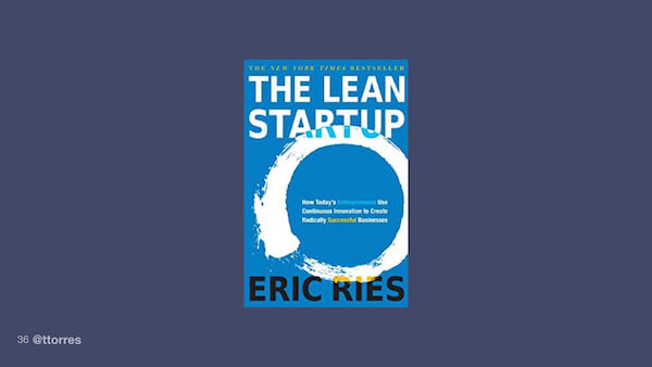 A photograph of the book cover of The Lean Startup