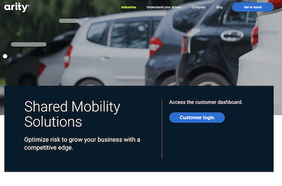 A screenshot of Arity's Shared Mobility product page.