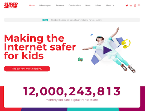 "A screenshot of SuperAwesome's home page with the tagline ""Making the Internet safer for kids"""