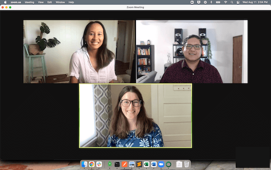 A screenshot from a video conference featuring three participants, Codi Funakoshi, Product Designer, Rafa Salazar, Lead Software Engineer, and Lisa Orr, Senior Product Manager.
