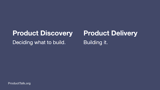"""The text reads, """"Product Discovery: Deciding what to build. Product Delivery: Building it."""""""