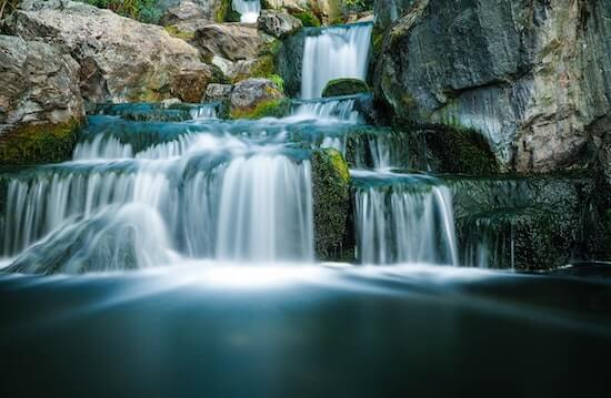 A photograph of a waterfall.
